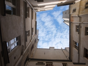...and the sky, as seen from the inner courtyard.