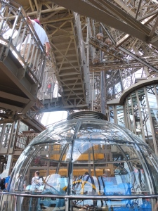 A spaceship kind of space on the Eiffel tower.