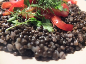 My beluga lentils and buckwheat iron loaded meal. And I am quite proud of it.