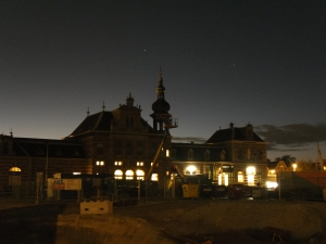 The Delft train station at night. I love how the sky looks in this one.
