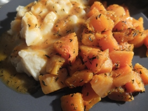 Squash with mashed potatoes.