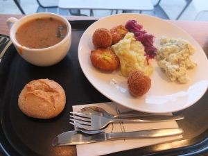 Shiitake soup, potato salad, veggie patties, mashed potatoes and red cabbage for me.