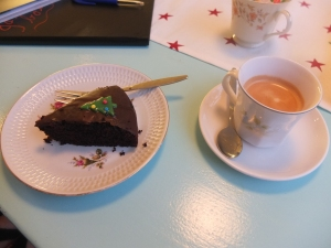 N.'s chocolate-something and coffee.