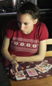 Here is me being all witchy with my tarot cards.
