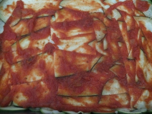 Leftover pasta sauce layer. No regrets.