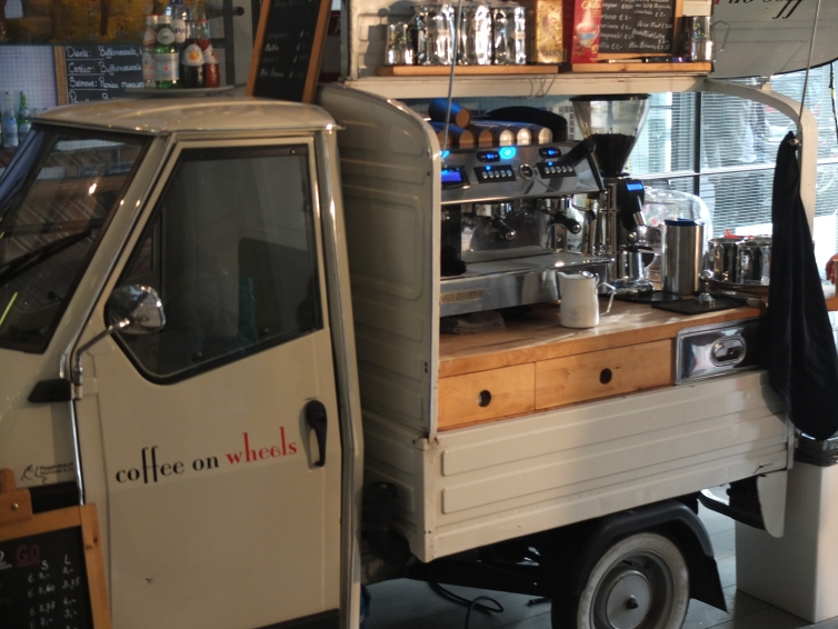 We all need one of those coffee-on-wheels.